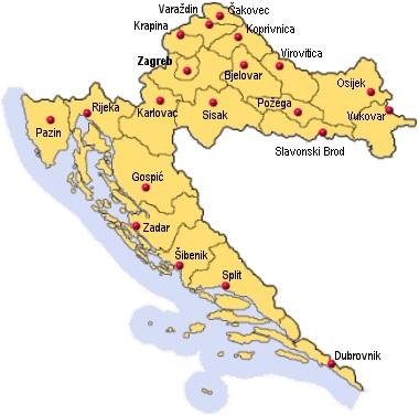 Chorvatsko mapa