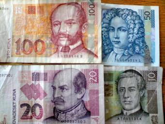 Fotka chorvatských bankovek - platidla Kuna